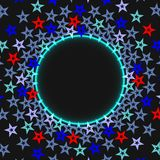 Dark starry cosmic abstract background with blue glowing circle with place for text. Vector. Illustration Stock Images