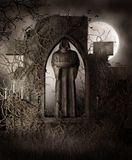 Dark statue with vines. Dark ruins with a statue and dead vines royalty free illustration
