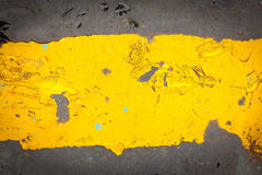 Dark steel floor plate paint with yellow pattern Stock Photo