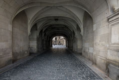 Dark stone street  in an old town Dresden Royalty Free Stock Images