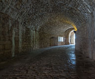 Dark stone streets  in an old town. Stock Photo