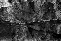 Dark stone wall texture in black and white. Dark stone wall texture with pattern on rock Royalty Free Stock Image