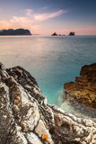 Dark stones on Adriatic Sea, Montenegro Royalty Free Stock Photography