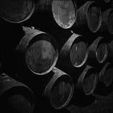 Dark Storage Of Wine Barrels Stock Images