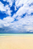 Dark storm clouds above a deserted beach Royalty Free Stock Image