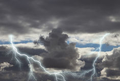 Dark storm clouds with lightning royalty free stock photos