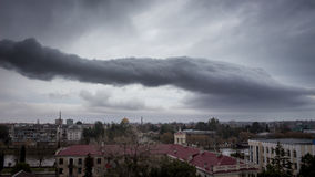 Dark storm clouds. Ominous dark abstract storm clouds stock photography