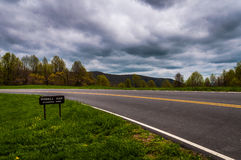 Dark storm clouds over Skyline Drive at Powell Gap in Shenandoah National Park stock image