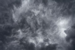 Dark storm clouds on sky Stock Image