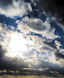 Dark storm clouds and sunbeams, sunset dawn. Subject - the beauty of nature, climate, global warming Stock Photography