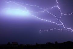 Dark storm sky with lgihting at night royalty free stock photos