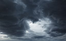 Dark storm sky with light natural background. Dramatic sky with dark stormy clouds before thunderstorm natural background stock images