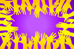 Hands up colorful, night party fun or volunteer. Agree play together communication concept vector illustration