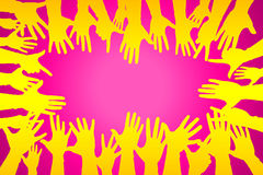 hands up colorful, night party fun or volunteer agree vector illustration