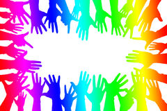 Hands up colorful, night party fun or volunteer. Agree play together communication for gay lesbian homosexual greeting concept stock illustration