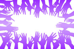 hands up colorful, night party fun or volunteer vector illustration