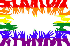 hands up colorful, night party fun or volunteer agree stock illustration
