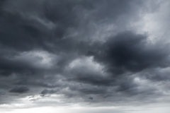 Dark stormy clouds. Natural background texture Stock Photography