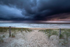 Dark stormy clouds over North sea Stock Image
