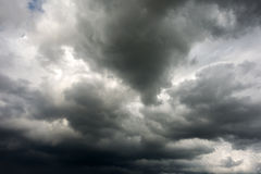 Dark stormy clouds. Stormy clouds on spring evening in Greece royalty free stock images