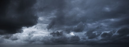 Dark stormy sky. Panoramic image Stock Photography