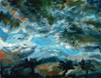 Dark stormy sky. Painting of dark stormy sky Stock Photos