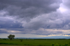Dark stormy sky over fields Royalty Free Stock Images