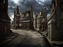 Dark street. Dark and mysterious mood 3D illustration of medieval-style town street stock illustration