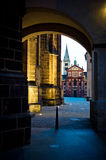 Dark street. In the old town in the evening with illumination Royalty Free Stock Photos