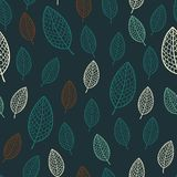 Dark stylish seamless pattern with textured leaves Royalty Free Stock Photos