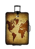 Dark suitcase with world map isolated over white Royalty Free Stock Photos