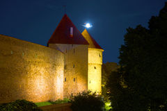 Dark summer night at the medieval towers. Tallinn Stock Images