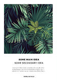 Dark summer vector tropical postcard design with green jungle palm leaves. Space for text. Royalty Free Stock Photos