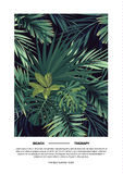Dark summer vector tropical postcard design with green jungle palm leaves. Space for text. Royalty Free Stock Image