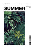 Dark summer vector tropical postcard design with green jungle palm leaves. Space for text. Stock Image