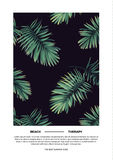 Dark summer vector tropical postcard design with green jungle palm leaves. Space for text. Royalty Free Stock Images