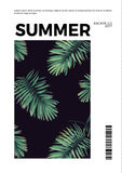Dark summer vector tropical postcard design with green jungle palm leaves. Space for text. Royalty Free Stock Photography