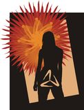 Dark Sun. Silhouette of the girl with a symbol in a groin on a background of the sun Stock Image