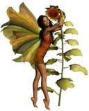 Dark Sunflower Fairy. Digital render of a dark-skinned fairy hugging a sunflower Royalty Free Stock Photos
