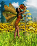 Dark Sunflower Fairy with Summer background Royalty Free Stock Photo