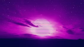 Dark Sunset Horizon. Dark sunset with the evening clouds moving on the sky in 80`s retro style. Day and night series stock illustration