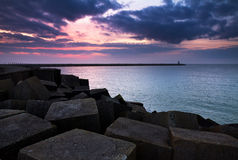 Dark sunset jetty Stock Image