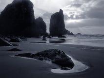 Dark sunset before storm at sea. Praia da Ursa, Portugal. Analog: 120 film. Toned blue Royalty Free Stock Images