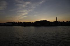 Summer sunset at the port of Lübeck royalty free stock image
