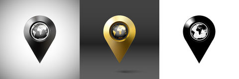 Dark surround the globe with marker location Stock Photos