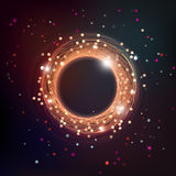 Dark swirl space illustration with particles and stars Royalty Free Stock Images
