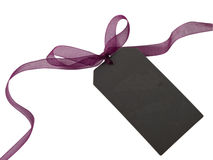Dark tag. With beautiful transparent, purple bow Stock Images