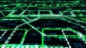 Dark tech abstract background - flying over the glowing circuits, wires, lines, connections and digital binary array, seamless loo stock footage