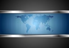 Dark tech background with map and steel elements Royalty Free Stock Images