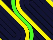 Dark techno background with yellow and green stripes stock photography